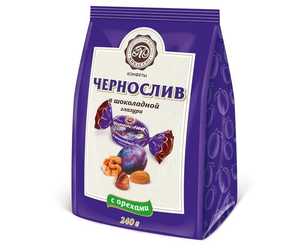Конфеты чернослив с орехами в шоколадной глазури 240 гр.